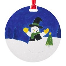 Winter Snowman Round Ornament