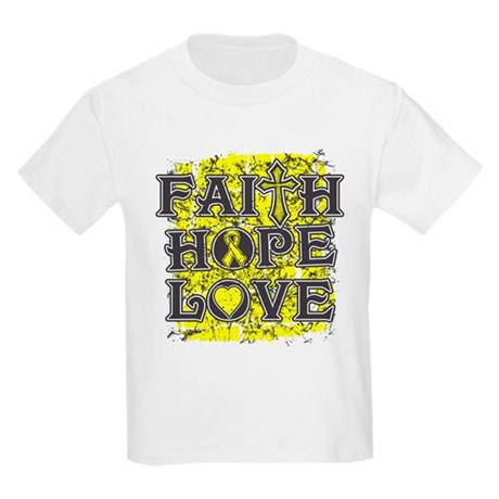 Testicular Cancer Faith Hope Love Kids Light T-Shi