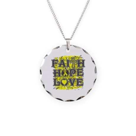 Testicular Cancer Faith Hope Love Necklace Circle