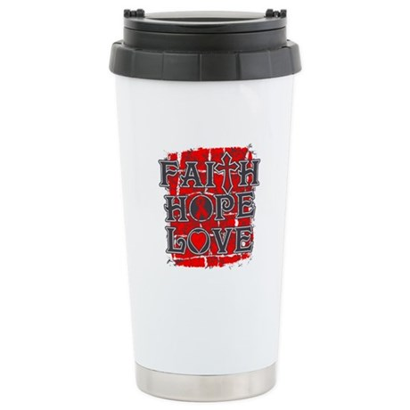 Stroke Faith Hope Love Stainless Steel Travel Mug