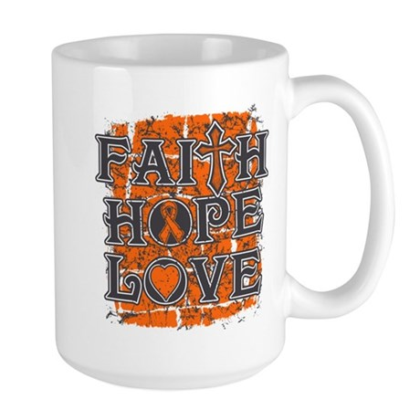 Leukemia Faith Hope Love Large Mug