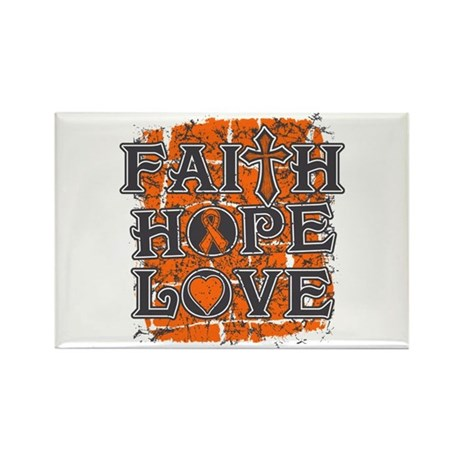 Leukemia Faith Hope Love Rectangle Magnet