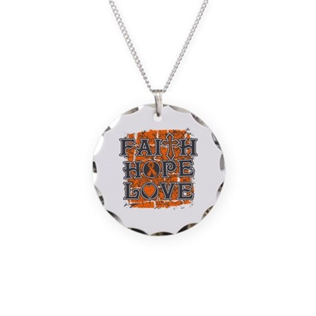 Leukemia Faith Hope Love Necklace Circle Charm