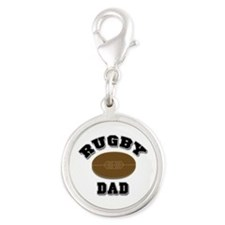 Rugby Dad Silver Round Charm