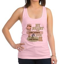 Heart With Soldier Racerback Tank Top