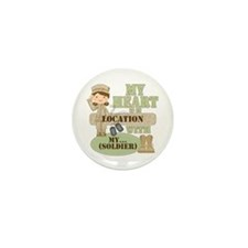 Heart With Soldier Mini Button (100 pack)