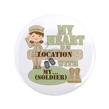 "Heart With Soldier 3.5"" Button"