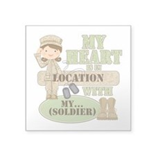 "Heart With Soldier Square Sticker 3"" x 3"""