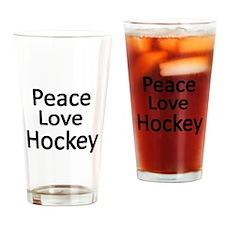 Peace,Love,Hockey Drinking Glass