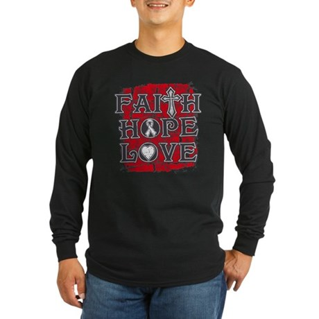 Lung Cancer Faith Hope Love Long Sleeve Dark T-Shi