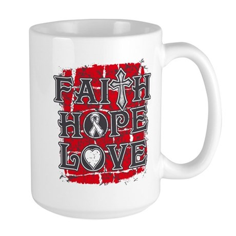 Lung Cancer Faith Hope Love Large Mug