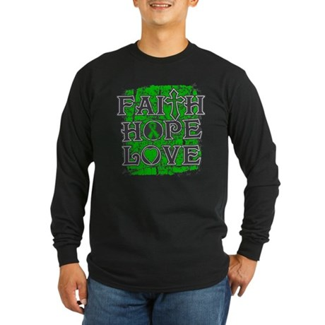 Kidney Disease Faith Hope Love Long Sleeve Dark T-