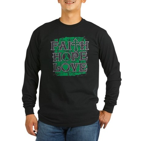 Liver Cancer Faith Hope Love Long Sleeve Dark T-Sh