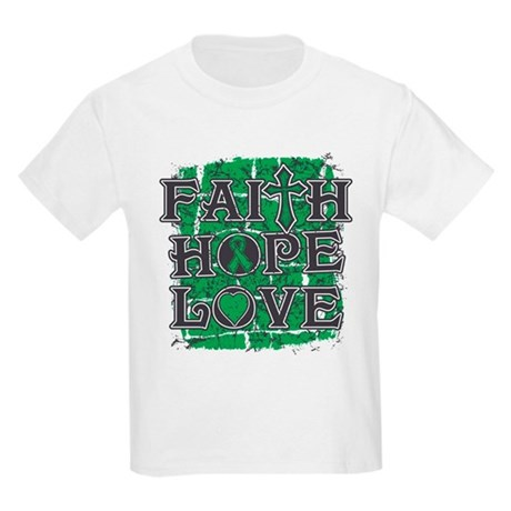 Liver Cancer Faith Hope Love Kids Light T-Shirt