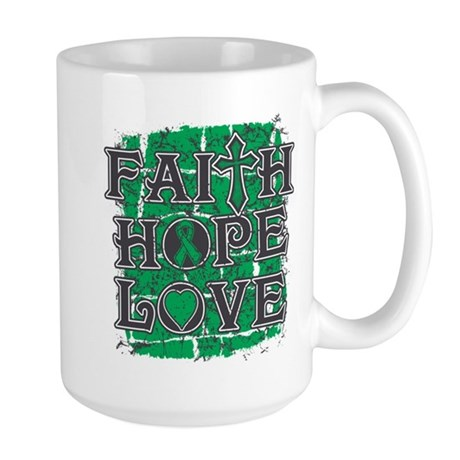 Liver Cancer Faith Hope Love Large Mug