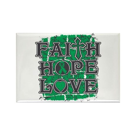 Liver Cancer Faith Hope Love Rectangle Magnet