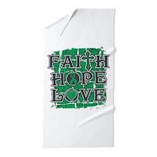 Liver Cancer Faith Hope Love Beach Towel