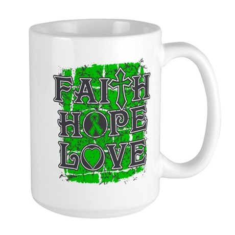 Kidney Cancer Faith Hope Love Large Mug