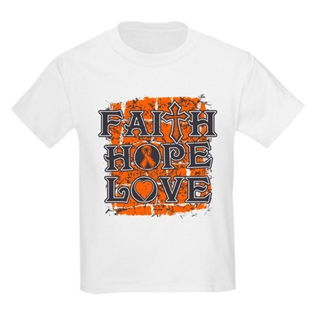 Kidney Cancer Faith Hope Love Kids Light T-Shirt