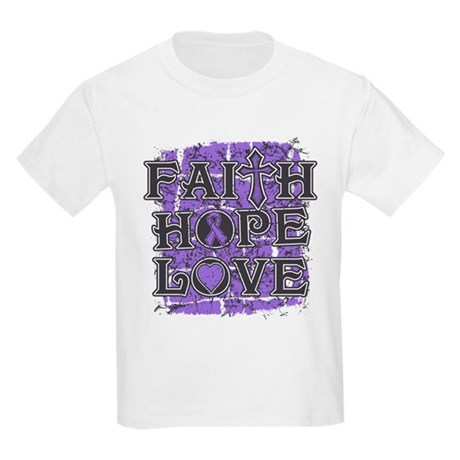Hodgkins Lymphoma Faith Hope Love Kids Light T-Shi