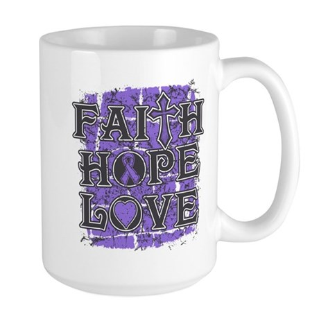 Hodgkins Lymphoma Faith Hope Love Large Mug