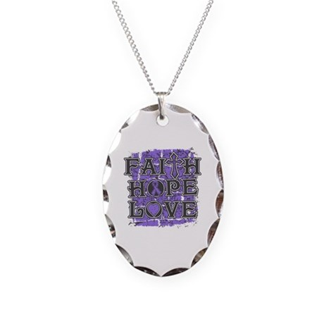 Hodgkins Lymphoma Faith Hope Love Necklace Oval Ch