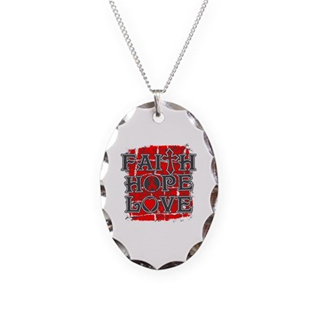 Heart Disease Faith Hope Love Necklace Oval Charm