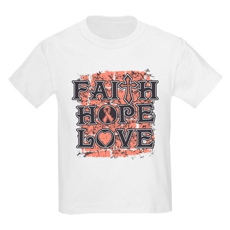Uterine Cancer Faith Hope Love Kids Light T-Shirt