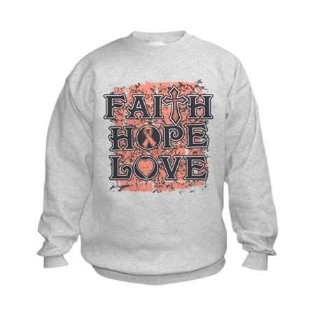 Uterine Cancer Faith Hope Love Kids Sweatshirt