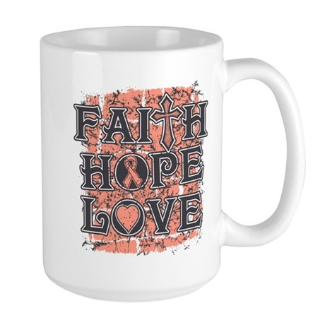 Uterine Cancer Faith Hope Love Large Mug
