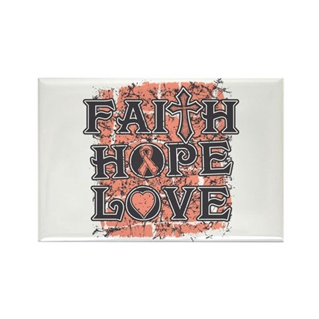 Uterine Cancer Faith Hope Love Rectangle Magnet