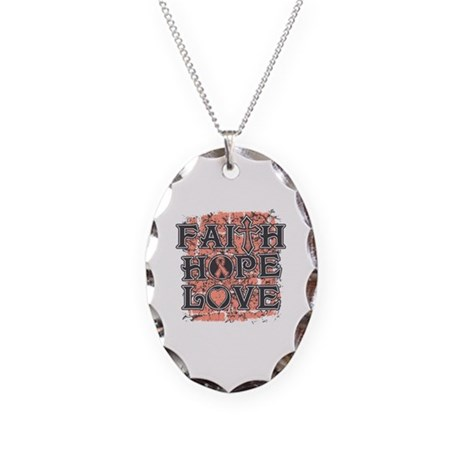 Uterine Cancer Faith Hope Love Necklace Oval Charm
