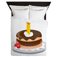 Cake With Candle Queen Duvet