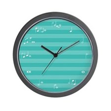 Turquoise music notes Wall Clock