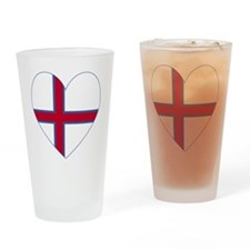 Faroe Islands Flag Heart Valentine Drinking Glass