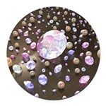 Diamonds and Pearls Round Car Magnet