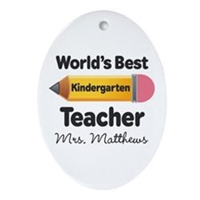 Personalized Kindergraten Teacher Ornament (Oval)