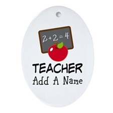 Personalized Teacher Gift Ornament (Oval)