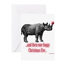 Rhino Rudolph Greeting Cards