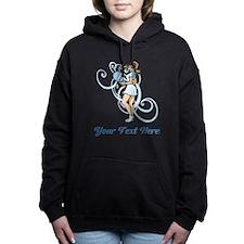 Female Tennis Player. Text. Hooded Sweatshirt