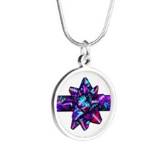Violet Paisley Bow Silver Round Necklace