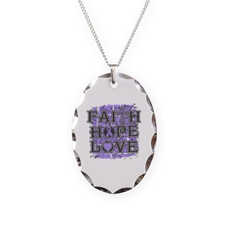General Cancer Faith Hope Love Necklace Oval Charm