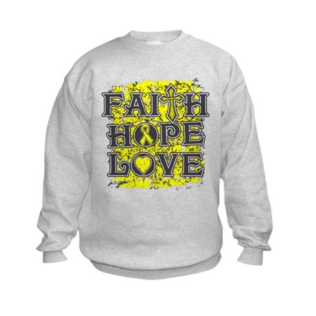 Ewings Sarcoma Faith Hope Love Kids Sweatshirt