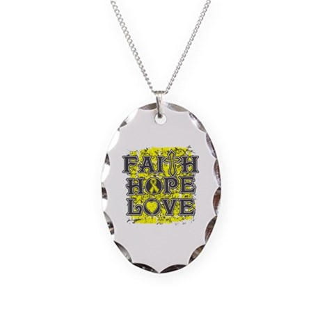 Ewings Sarcoma Faith Hope Love Necklace Oval Charm