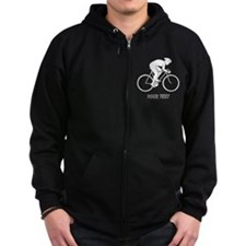 Cycling Design and Text. Zip Hoodie