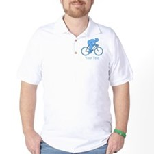Blue Cycling Design and Text. T-Shirt