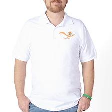 Cyclist in Orange. Custom Text. T-Shirt