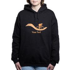 Cyclist in Orange. Custom Text. Hooded Sweatshirt