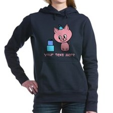 Pink Cat Birthday, with Text. Hooded Sweatshirt