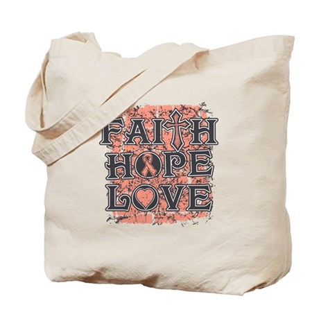 Endometrial Cancer Faith Hope Love Tote Bag